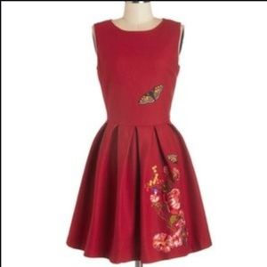 Modcloth Embroidered Wool Butterfly Dress UK10
